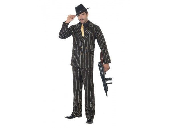 Gold Pinstriped Gangster Costume