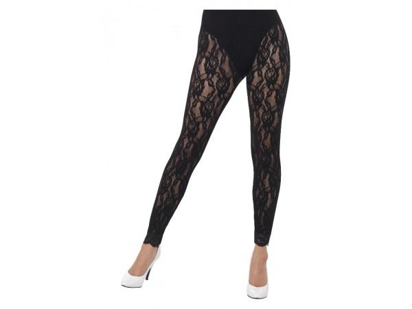 80's Lace Leggings , Black