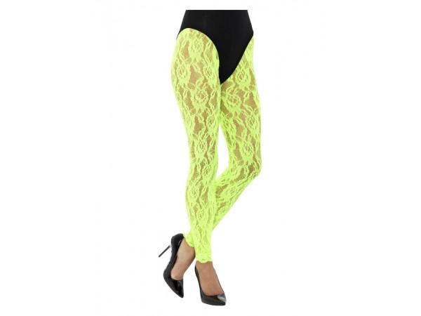 80's Lace Leggings Neon Green